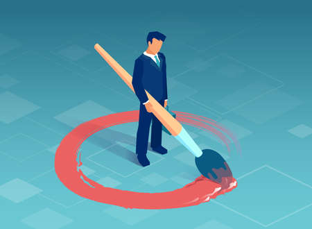 Vector of a business man drawing a red circle around himself. Illustration