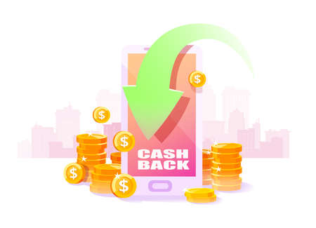 Cashback program concept. Vector of a smartphone with arrow and cash back iscription and refund money