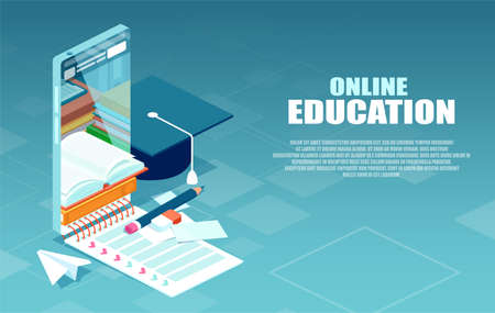 Digital online education via mobile appplication concept.