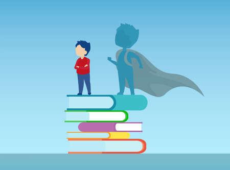 Vector of a confident boy standing on a pile of books with super hero shadow of himself