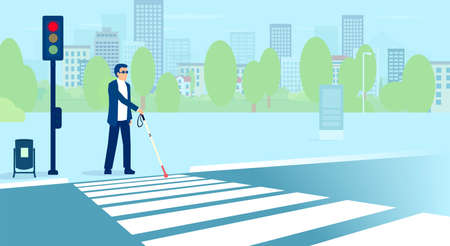 Vector of blind adult man with sunglasses and cane crossing the street
