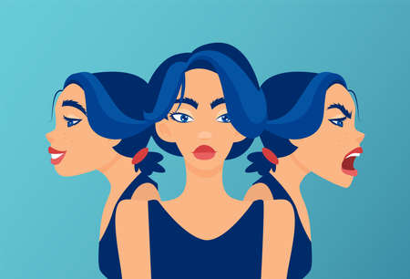 Vector of a young woman with mood swings, bipolar disorder expressing anger and happiness