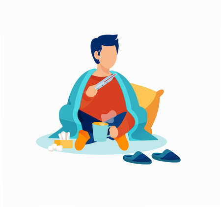 Vector of a sick young man with a thermometer wrapped in blanket 向量圖像