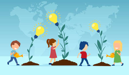 Vector of a group of children planting and watering flowers with light bulb ideas 向量圖像