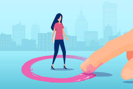 Vector of a man finger drawing red circle around a woman