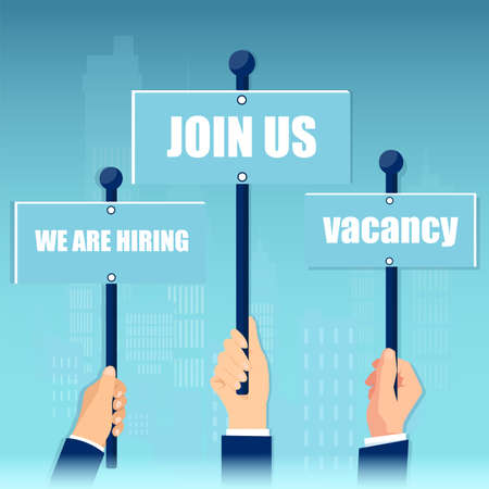 Vector of business men hands holding signs vacancy, we are hiring, join us announcements 向量圖像