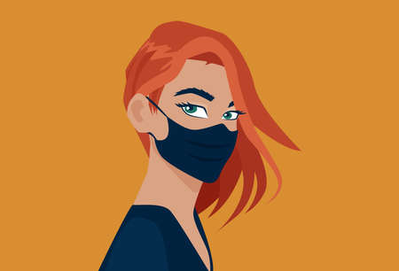 Vector of a young woman wearing a face mask