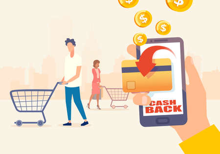 Cashback program concept. Vector of shopping people using credit or debit card earning bonus cash back money