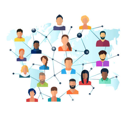 Vector of a global network of interconnected people on a world map background