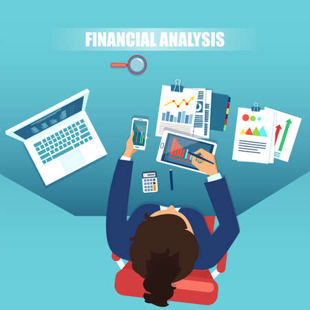 Vector top view of a businesswoman working on financial analysis, statistics and strategy for a successful development.