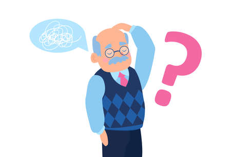 Vector of a senior man feeling confused having short term memory loss difficulty concentrating