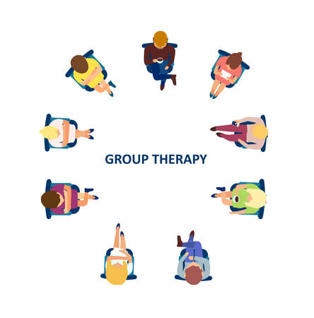 Group therapy concept. Vector of people sitting in circle having a discussion