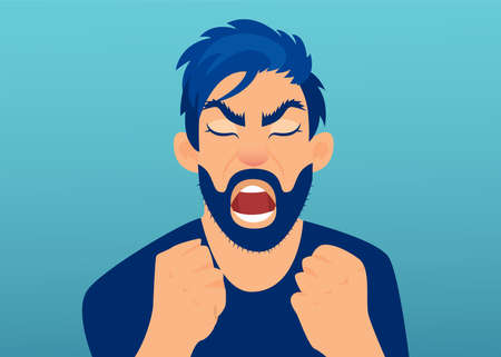 Vector of an angry screaming young man feeling frustrated