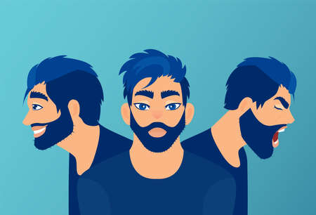 Vector of a young man with mood swings, bipolar disorder expressing anger and happiness