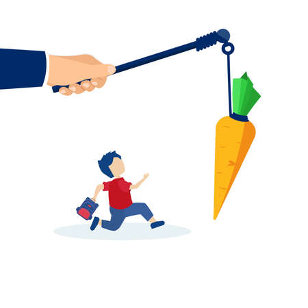 Vector of a hand holding carrot on the stick and a boy running after it