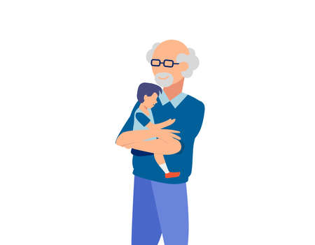 Vector of a happy grandfather hugging his grandson isolated on white background Illusztráció