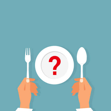 Vector top view of a woman sitting at a table in front of an plate with question mark thinking of diet choices