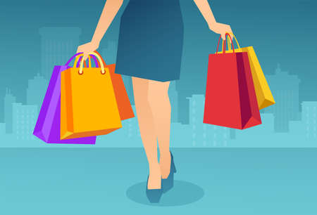 Vector of a stylish woman carrying many colorful shopping bags on a cityscape background