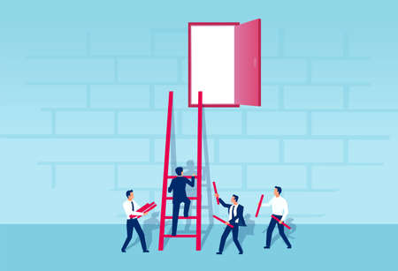 Vector of businessmen working as a team to build a ladder of success