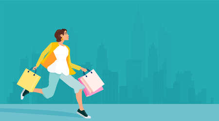 Vector of a happy shopper woman carrying shopping bags and running