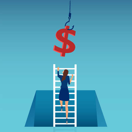 Vector of a business woman climbing up a ladder to reach money hanging on a hook