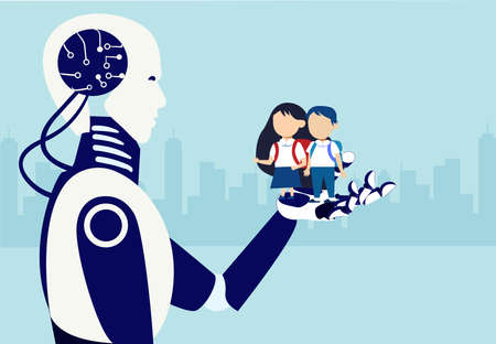 Vector of a robot holding in his hand two students a little boy and a girl 向量圖像