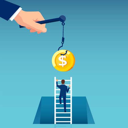 Vector of a business man climbing up a ladder to reach money hanging on a hook