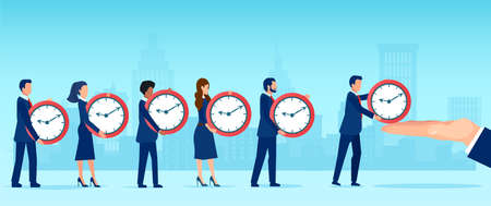 Vector of a group of businesspeople, employees giving their time to a corporate company