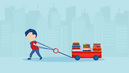 Vector of a little boy pulling a cart loaded with books