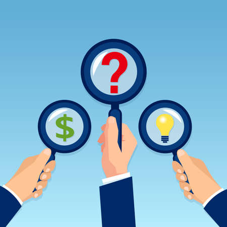 Vector of businessmen hands holding magnifying glass searching for idea analyzing financial investment opportunities