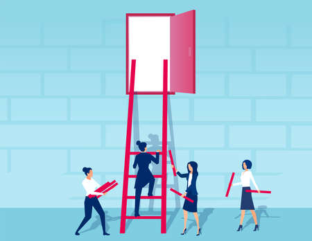 Vector of businesswomen working as a team to build a ladder to success Illustration