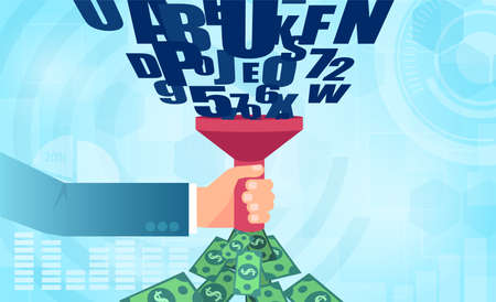 Vector of a businessman with funnel transforming personal data information into money