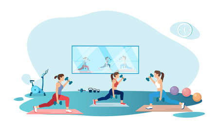 Vector of women exercising in gym lifting dumbbells