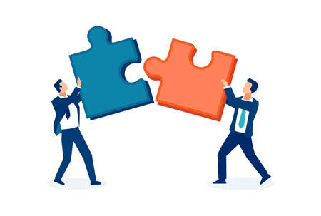 Vector of two business men connecting together two puzzle pieces