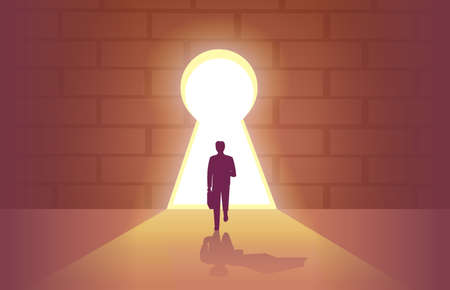 Vector of a brave businessman entering a door in a shape of a keyhole