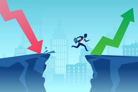 Vector of a businessman jumping over a cliff to overcome financial crisis