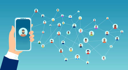 Vector of a woman hand holding smartphone connected to a large group of interconnect people