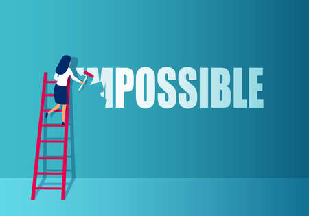 Vector of a businesswoman on stairs paintbrushes word impossible into possible Illustration