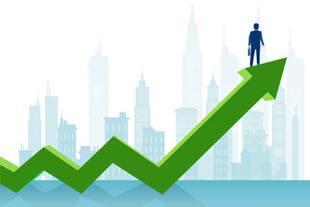 Vector of a successful businessman standing on a green arrow growing up looking at a city