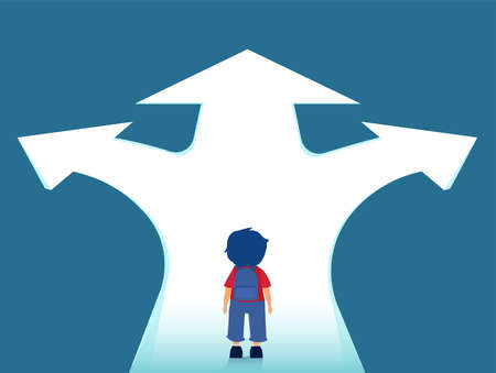 Vector of a little boy with backpack standing at crossroads thinking which way to go