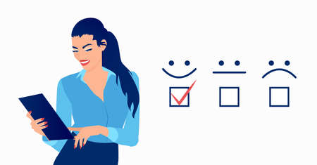Vector of a businesswoman giving excellent rating for online satisfaction survey 일러스트