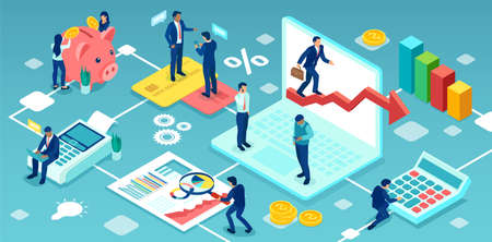 Vector of business people financial analysts working as a team to achieve a company success Illustration