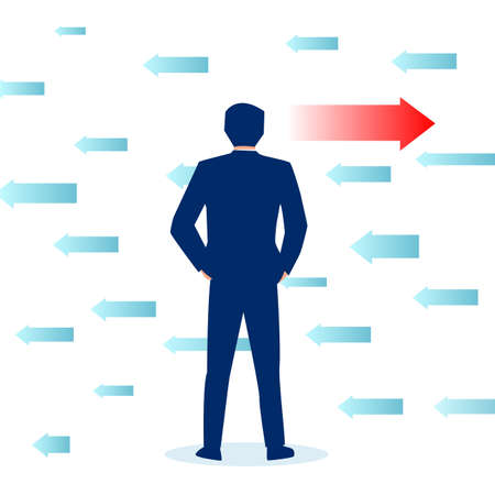 Vector of a businessman making a decision career choice Illustration