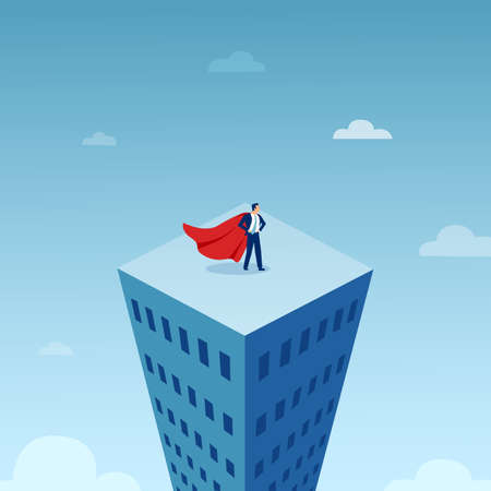 Vector of a businessman in red cape on top of the tall city building
