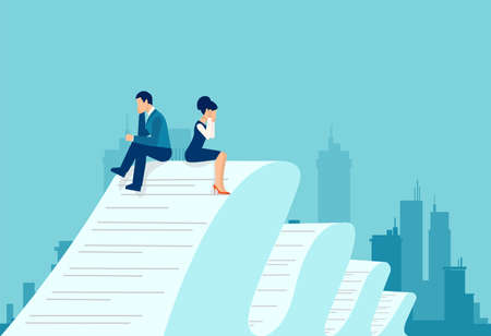 Vector of a sad business man and woman sitting on a very long contract document feeling desperate