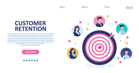 Customer retention concept. Vector of a target audience in a successful business strategy