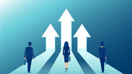 Vector of business people standing on arrows growing up