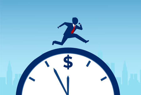 Time is money concept. Vector of a businessman running on the clock