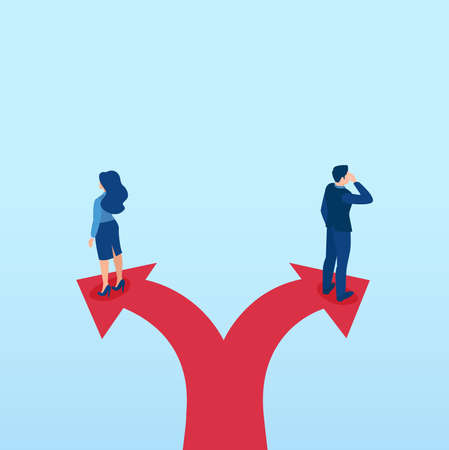Vector of businessman and businesswoman walking in opposite directions standing on arrow signs