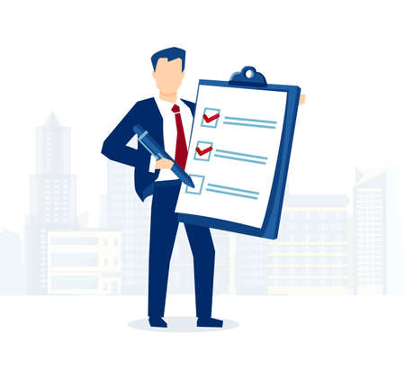 Vector of a businessman holding clipboard with checklist